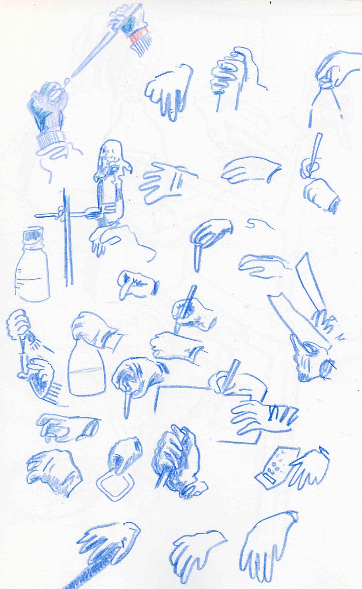 Observational sketches of hands doing lab work