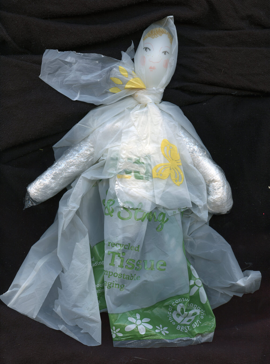 Image of a creature made from biodegradable plastic