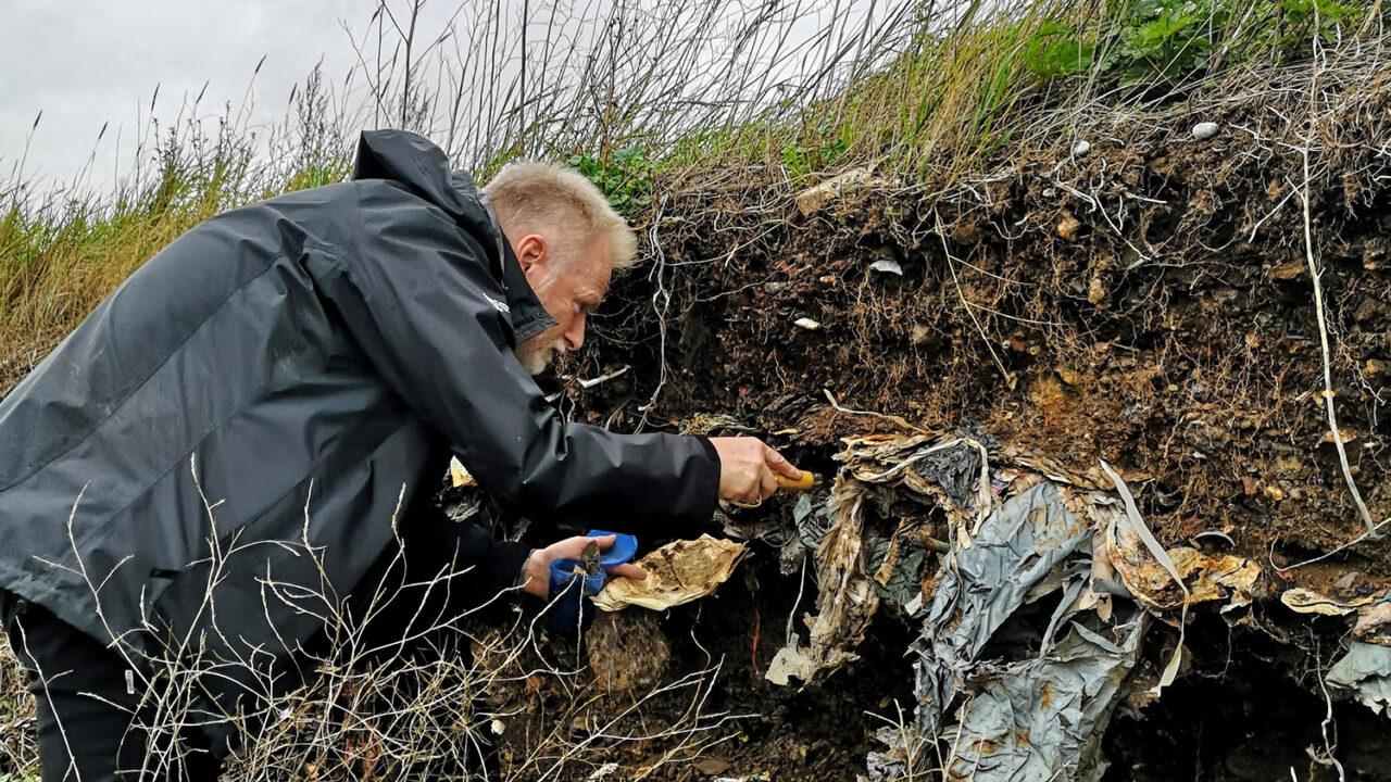 Image of Prof John Ward taking soil samples